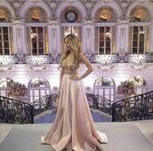 dress,pink,light,prom,maxi dress,straps,prom dress,prom gown,long prom dress,v neck dress,backless prom dress,sexy prom dress,sequin prom dress,pink prom dress,evening dress,formal event outfit,long evening dress,evening outfits,formal dress