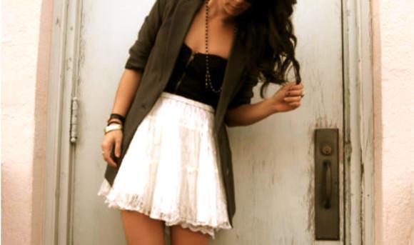 blazer skirt white lace skirt white skirt black shirt lace skirt lacey high waisted skirt black and white green navy green