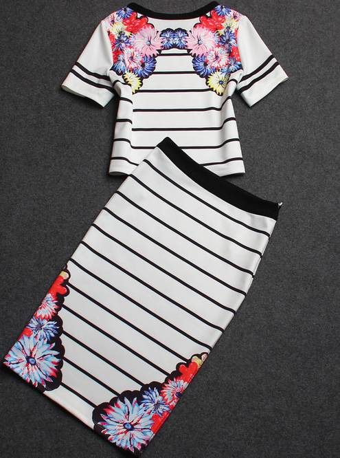 White Short Sleeve Floral Striped Top With Skirt - Sheinside.com