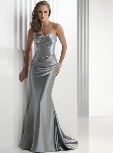 2013 New Strapless Silver Satin Evening Dresses-in Evening Dresses from Apparel & Accessories on Aliexpress.com