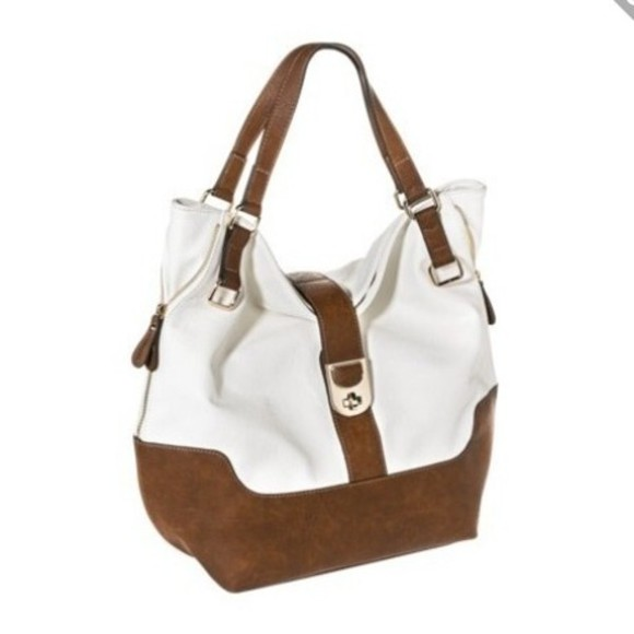 bag tote white tan