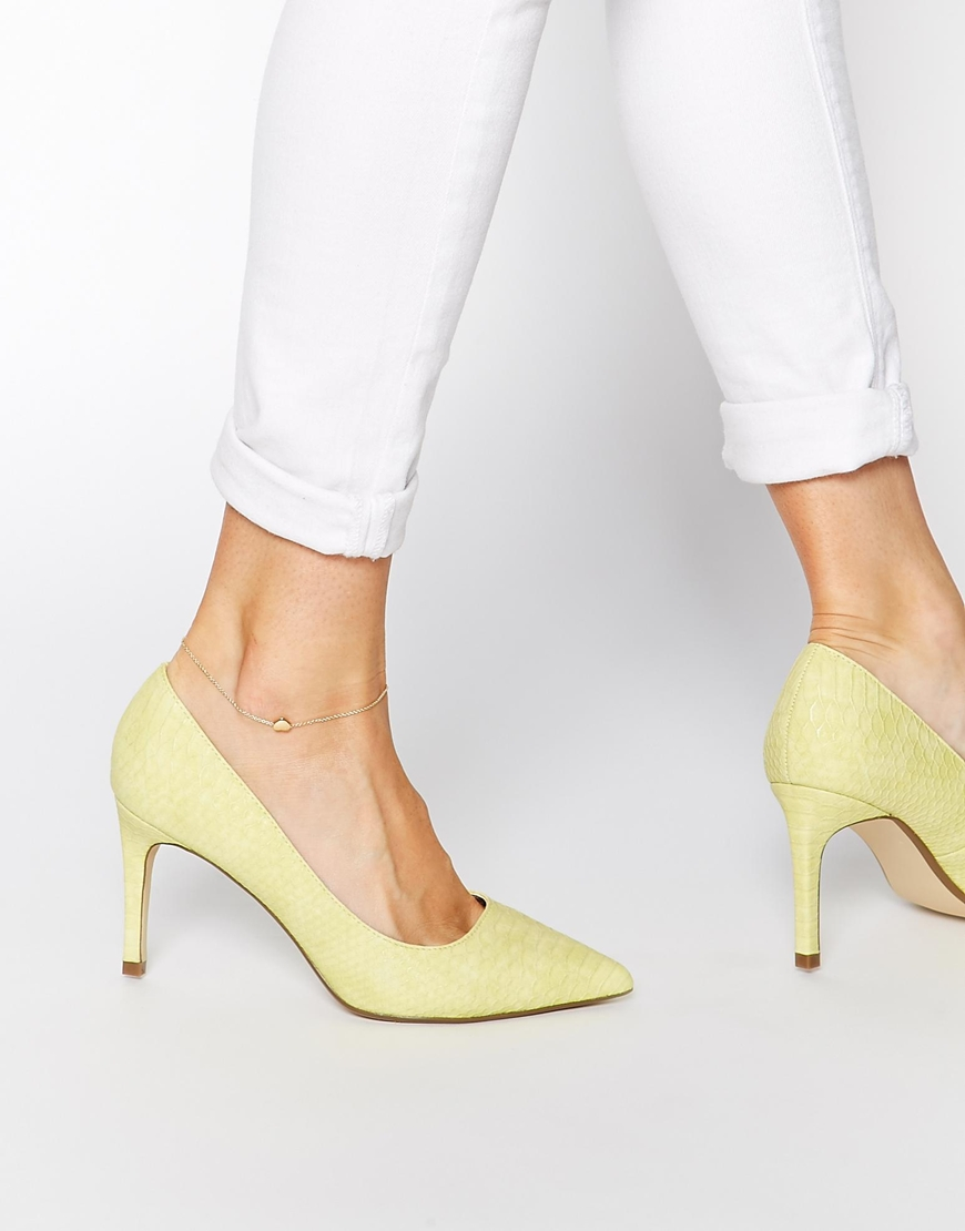Island Mid Heeled Yellow Court Shoes at asos.com