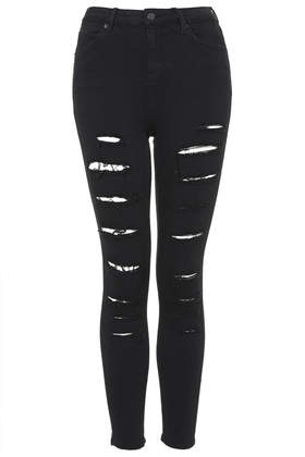MOTO Black Super Ripped Jamie Jeans - Jeans - Clothing - Topshop