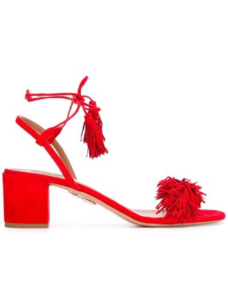 women sandals leather suede red shoes