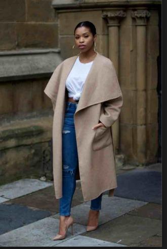 jacket black girls killin it jeans coat white shirt high heels shoes denim pants heels style trendy