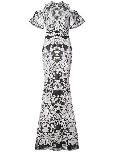 Marchesa Notte gown short women lace black dress