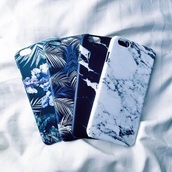 phone cover,hipster,marble,palm tree print,iphone cover,iphone 6 case,6  apple,iphone case,ocean,palms,tech,iphone,apple,cover,stone,iphone 5s,iphone 6 plus,etc,white marble,black,white,dark blue,floral,leaves,cute cover,idk,many colors,blue,tropical,pattern,iphone 5 case,pretty,cool,beautiful