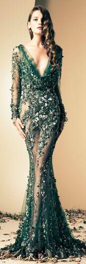 haute couture,green,long sleeve dress,sheer,mermaid prom dress