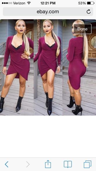 dress wrap dress birthday dress burgundy sexy asymmetrical mocha dress capricorn draya michele