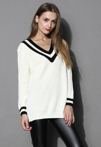 chicwish contrast collar white sweater