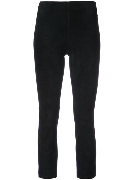 Vince cropped women fit leather black pants