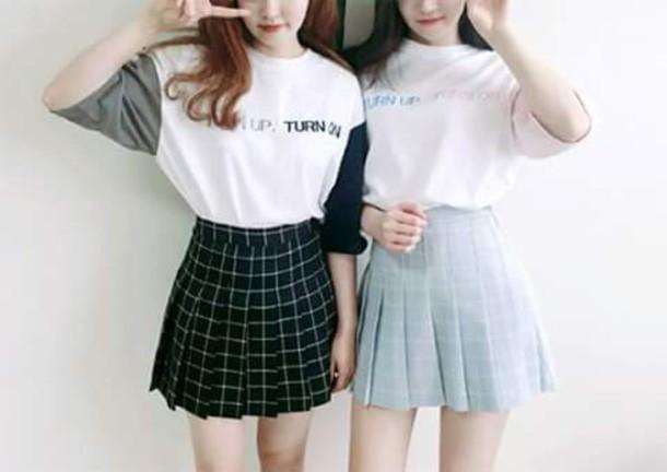 Skirt Pleated Skirt Checkered Blue Skirt Korean Fashion Korean Style Wheretoget