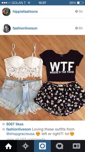 shorts,flowers,top,summer shorts,black,cute,outfit,drawstring shorts,floral print shorts,t-shirt