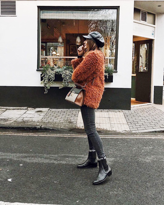 jacket tumblr brown jacket fuzzy jacket hat fisherman cap denim jeans black jeans skinny jeans boots black boots ankle boots bag