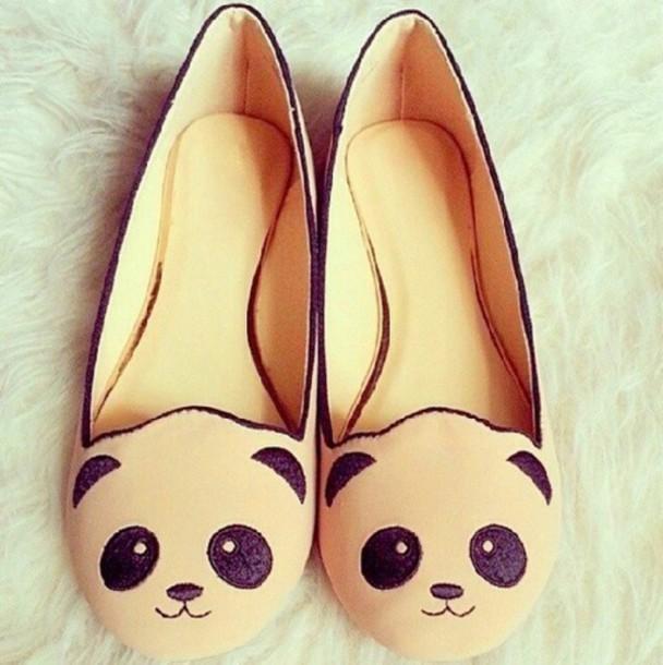shoes panda ivory babeth panda babeth black koala bear panda bear cute shoes bear shoes teddy bear flats slip on shoes panda shoes flats ballet flats cute kawaii cream cream and  lack