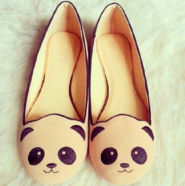 shoes panda ivory babeth panda babeth black koala bear panda bear cute shoes bear shoes teddy bear flats slip on shoes panda shoes flats ballet flats cute kawaii cream cream and  lack