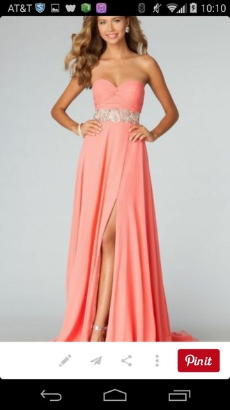 dress pink dress peach dress long prom dress prom dress sequin dress