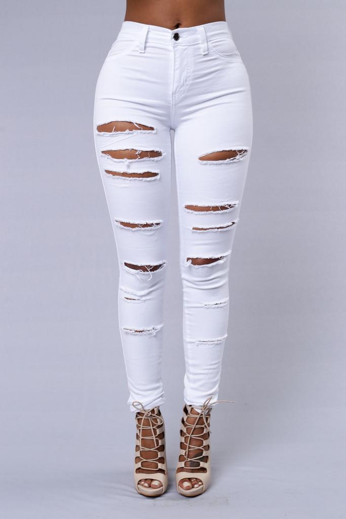 f00b3502836 Slash and Burn Jeans - White   Fashion Nova