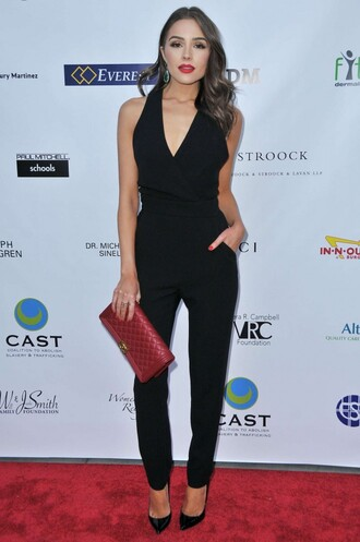 jumpsuit black olivia culpo pumps
