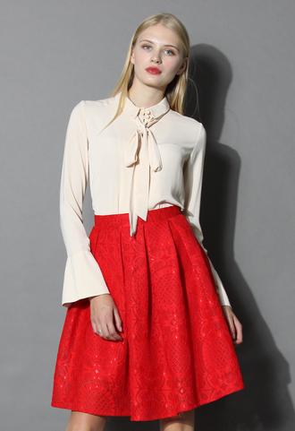 shirt pretty tie-neck button-up blouse chicwish blouse chicwish shirt