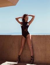 tights,swimwear,one piece swimsuit,black swimwear,sandals,editorial,summer,jessica alba
