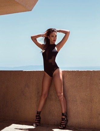 tights swimwear one piece swimsuit black swimwear sandals editorial summer jessica alba