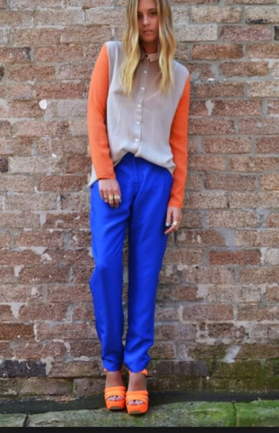 blouse neon light blue pants shoes spring spring outfits
