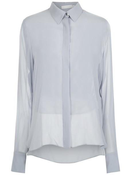 Giuliana Romanno shirt women blue silk top