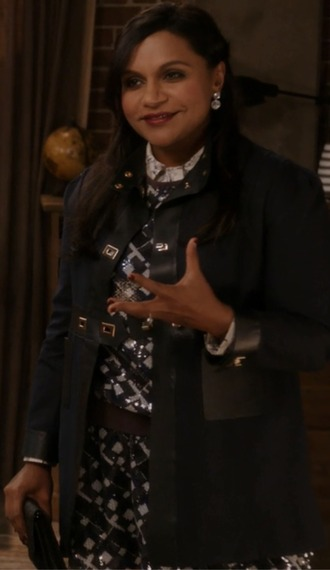 coat navy leather the mindy project mindy kaling mindy lahiri