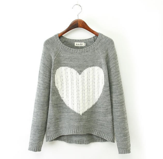 Heart Pattern Pullover O Neck Long Sleeve Knitwear