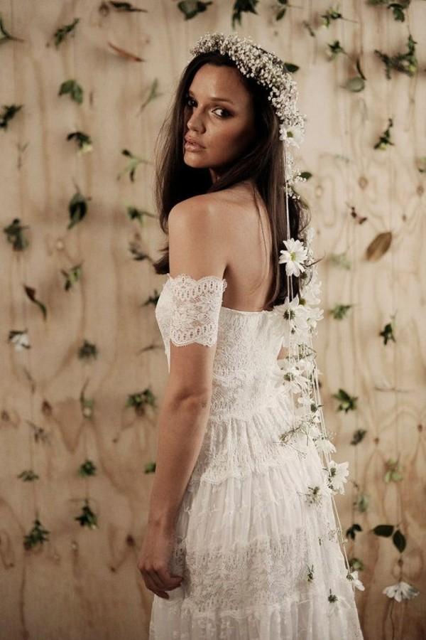 Boho Hippie Gypsy Wedding Dresses dress white lace summer