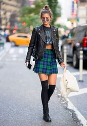 jacket,biker jacket,Taylor hill,model off-duty,fall outfits,mini skirt,plaid