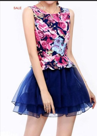 navy dress floral tulle tulle skirt dress