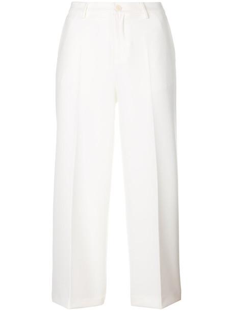 LIU JO cropped women spandex white pants