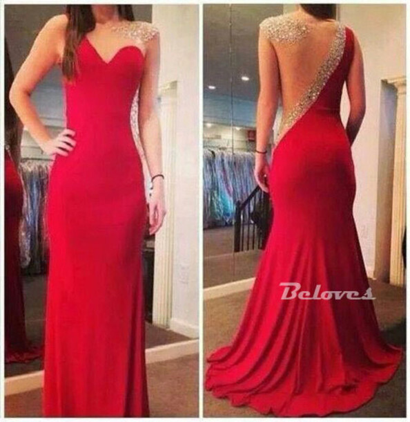 dress red jersey beaded evening gown