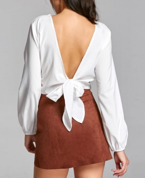blouse girly white white top long sleeves backless crop tops crop cropped