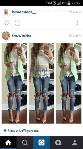 blouse white blouse boho chic hippie boho gypsy jeans jacket
