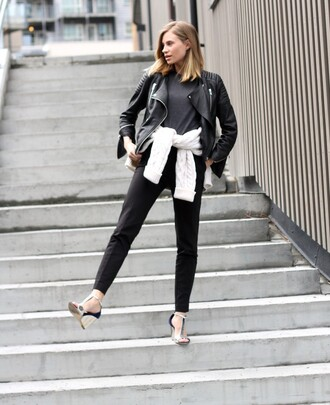 the fashion eaters blogger wedges biker jacket