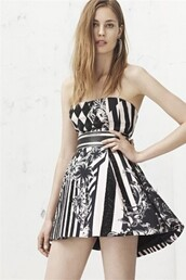 dress,balmain,resort 2013,black and white dress,miami