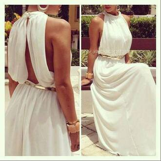 dress white gold belt maxi dress