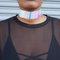 Leather hologram choker necklace