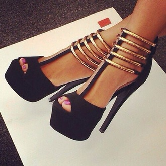 shoes black and gold heels high heels style special occasion sexy sexy  shoes elegant