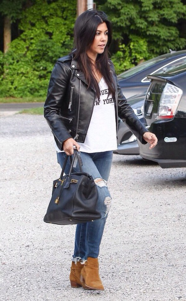 shirt kourtney kardashian jacket bag leather jacket boots kardashians