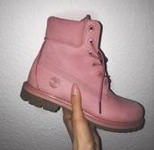 shoes,timberlands,timberland,timberlands boots,pink,pastel,pastel shoes,boots,pink boots,flat boots