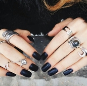 matte nail polish,matte,dark nail polish,silver ring,silver,silver jewelry,boho jewelry,gemstone ring,black