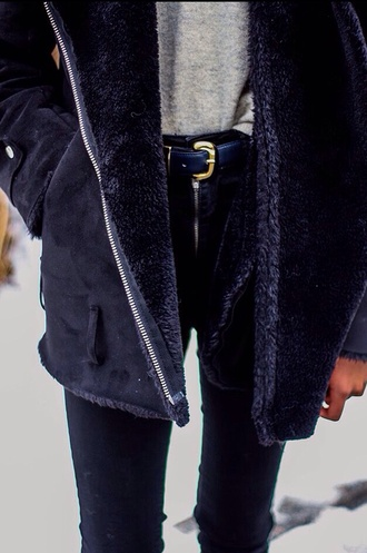 jacket perfect jacket coat black jacket grey jacket dark parka belt shirt pants black black coat perfect classic fur wool vegan jeans navy blue fluffy warm winter coat zipper pockets cozy grunge vintage fur coat tumblr fashion shearling jacket