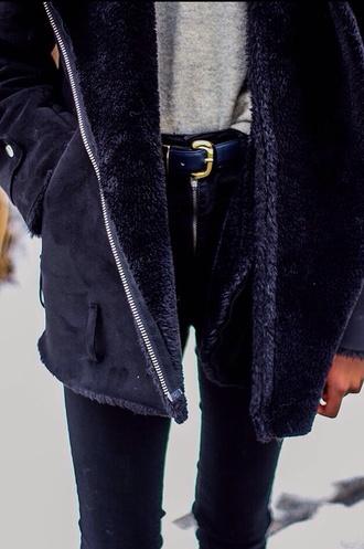 jacket perfect jacket coat black jacket grey jacket dark parka belt shirt pants black black coat perfect classic