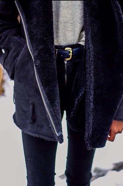 jacket perfect jacket coat black jacket grey jacket dark parka belt shirt pants black black coat perfect classic fur wool vegan jeans navy navy blue fluffy warm winter coat zipper pockets cozy grunge vintage fur coat tumblr fashion shearling jacket