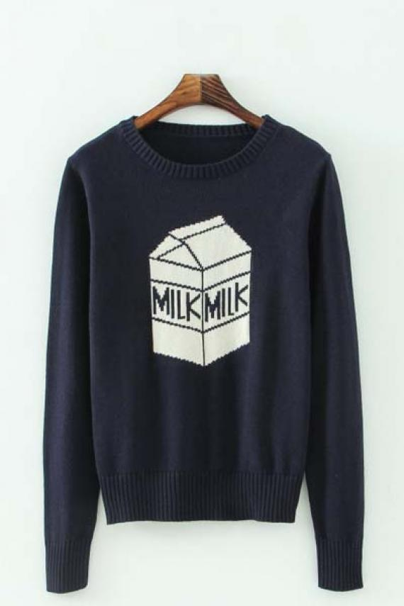 Milk pattern round neck long sleeve pullover sweater