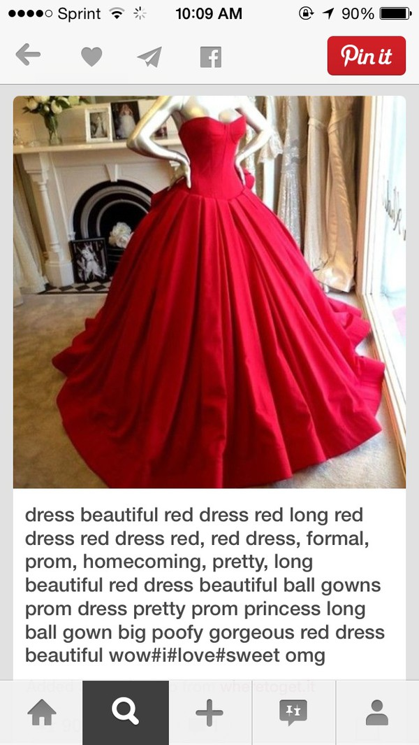 clothes red dress ball gown dress